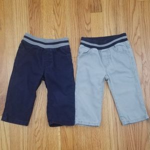 2 Pairs Gymboree Baby Boys Pull-on Pants Navy Gray